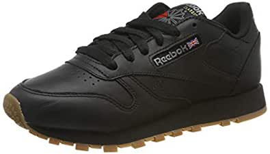 Reebok Women's Classic Leather Trainers, Intense Black/Gum, 6.5 US