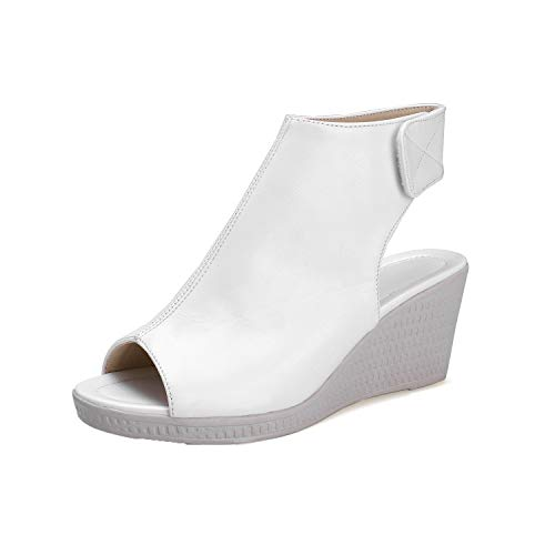 Blanc Ouverture à Talon Unie Femme Correct Sandales AalarDom Couleur d'orteil TSFLG005433 w4vxT