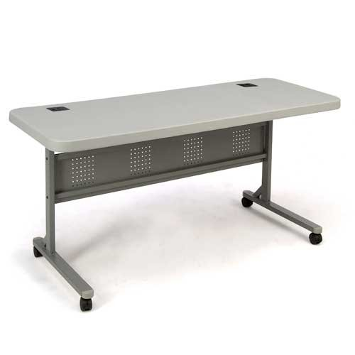 "National Public Seating NPSBPFT2460 Plastic Flip-N-Store Table, 29-1/2''H x 24""W x 60""L, Locking Casters, Gray"