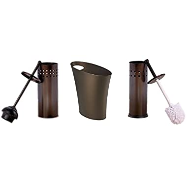 Skinny Polypropylene Waste Trash Can Bin with Toilet Brush & Toilet Plunger 3 Piece Set - Perfect Gift for Home or College Dorms - Oil Rubbed Bronze Finish - Household Supplies