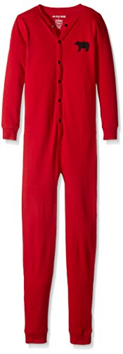 Little Blue House by Hatley Boys' Little Kids Union Suit, Red Bear Bum, (Bum Thermal)