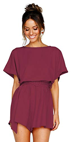 - Longwu Women's Summer Bat Wing Sleeve Jumpsuit Casual Loose Overall Rompers with Belt Wine Red-L