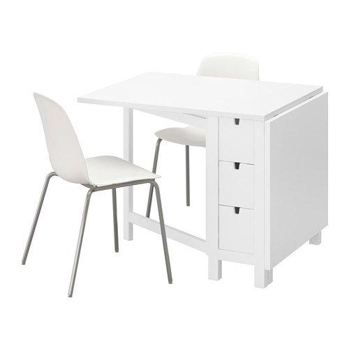 Ikea Table and 2 chairs, white, white chrome plated 4204.20517.210