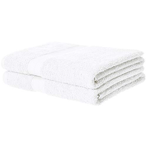 AmazonBasics Fade-Resistant Cotton Bath Towel – 2-Pack, White