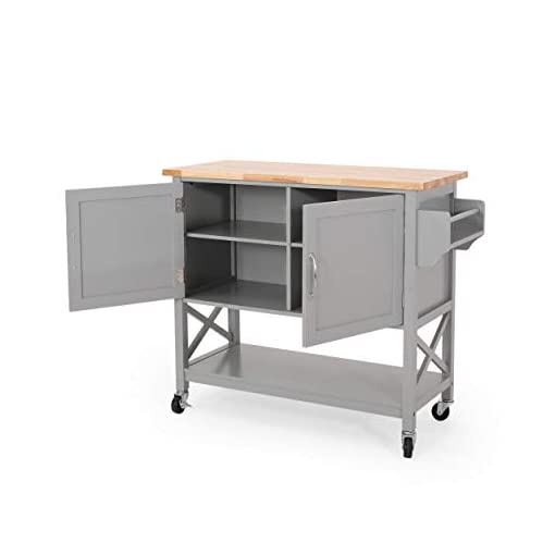 Farmhouse Kitchen Christopher Knight Home Sonnie Kitchen Cart with Wheels, Gray, Natural farmhouse kitchen islands and carts