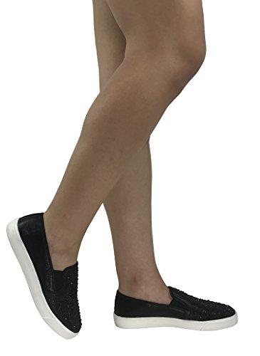 Soda-Frauen Beleg auf Turnschuhen - geschlossene Zehe Schwarzer Kristall