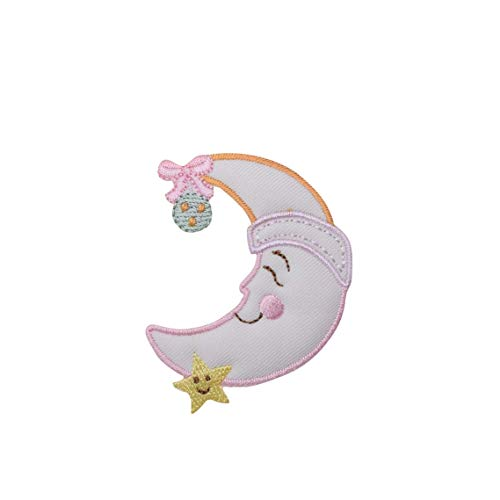 (Children's Moon and Star Iron On Embroidered Applique Patch)
