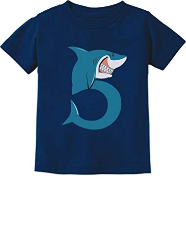 TeeStars - 5th Birthday Shark Party Gift for Five Year Old Toddler Kids T-Shirt 5/6 Navy