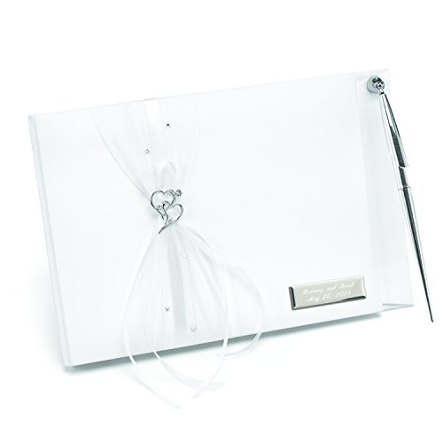 Silver Tone Personalized Pen - Personalized Heartfelt Whimsy Guest Book - Canopy Street - Custom Wedding Guest Register (10033P)