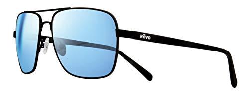 Revo Unisex RE 5022 Peak Navigator Polarized UV Protection Sunglasses Aviator, Black Frame, Blue Water ()