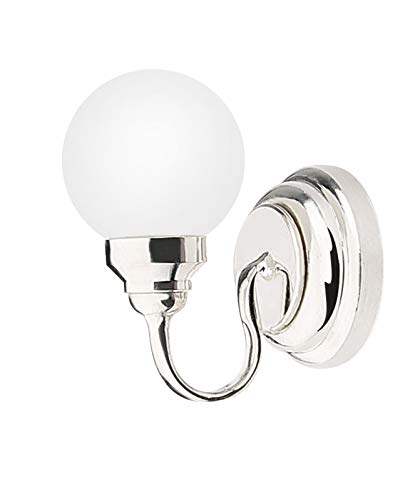 Price comparison product image Zamonji :12 Scale Dollhouse LED Wall Lamp,  Battery Operated,  Metal Base,  Plastic (Silver)