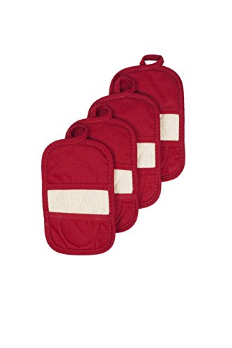 Ritz Royale Collection 100% Cotton Terry Cloth Mitz, Dual-Function Pot Holder/Oven Mitt Set, 4-Pack, Paprika Red ()