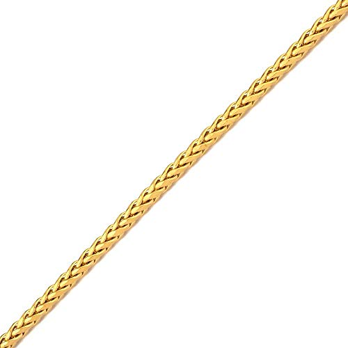 LoveBling 10K Yellow Gold Wheat, Palm Chain Bracelet with Lobster Lock (4mm, 8