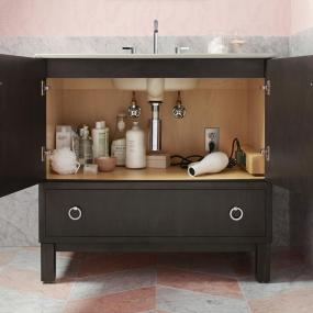 KOHLER K-99504-LGR-1WA Jacquard Vanity with Furniture Legs 1 Door and 3 Drawers on Right, 30-Inch, Linen White from bathroom-vanities, bathroom-fixtures-hardware, bathroom category