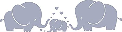MAFENT(TM) Three Cute Elephants parents and kid Family wall decal With Hearts Wall Decals Baby Nursery Decor Kids Room Wall Stickers