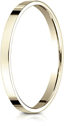 Benchmark 14K Yellow Gold 2mm Traditional Flat Wedding Band Ring, Size 11.75