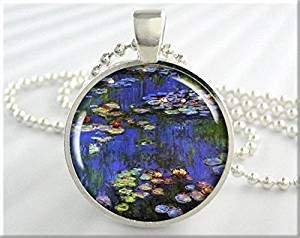Monet Art Pendant Vintage Spring Jewelry Claude Monet Water Lillies Resin Pendant Jewellery ()