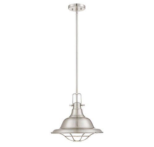 Trade Winds Lighting 1-Light Industrial Steel Hanging Pendant in Brushed Nick (Nickel Pendant)