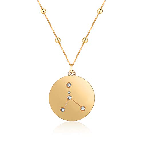 (FAMARINE 18K Gold Plated Zodiac Necklace, Constellation Pendant Necklace for Girls Women with Gift Box (Cancer))
