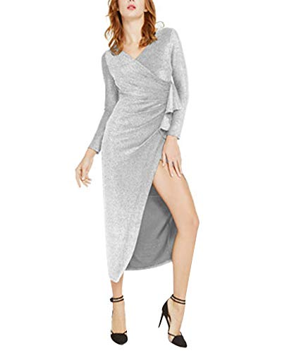 Aiyou Women's Long Sleeve Wrap Dresses - Sexy Glitter Ruched V Neck High Slit Maxi Dress