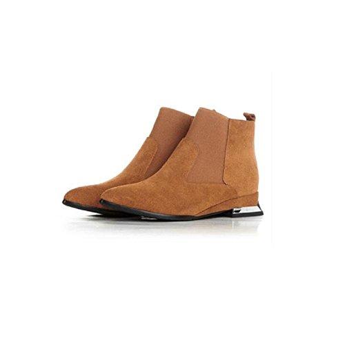 manica stivaletti camoscio donna moda vera brown BROWN giornaliero Casual con tagliare alla stivali da breve 37 punta 36 Scarpe pelle wn40IAgqz0