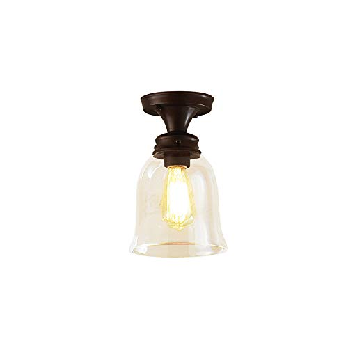 allen + roth Bristow 7-in W Oil-Rubbed Bronze Clear Glass Semi-Flush Mount Light Item#590940 Model# FM0100424-1 - Allen Bristow Roth And