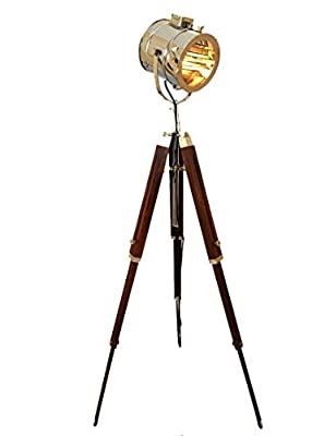 Marine Signal Tripod Floor Lamp - Hand Made with Brilliant Chrome Finish