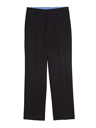 IZOD Boys' Big Bi-Stretch Flat Front Dress Pant, Black, 14 - Dress Boys Pleated Pants