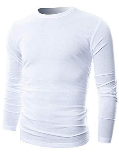 GIVON Mens Slim Fit Soft Cotton Long Sleeve Lightweight Thermal Crew Neck T-Shirt/DCP033-WHITE-L