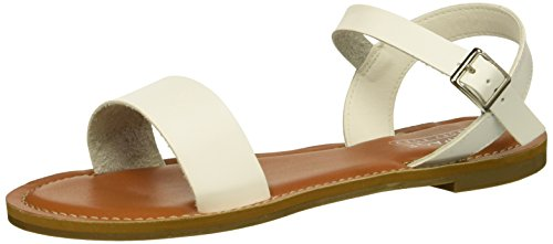 Rampage Women's Ram-Malta Flat Sandal, White Smooth, 6 M US