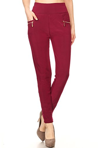 2ND DATE Women's Fur Lined Plaid Leggings Pants - Burgundy-One Size (Plaid Pants Womens)