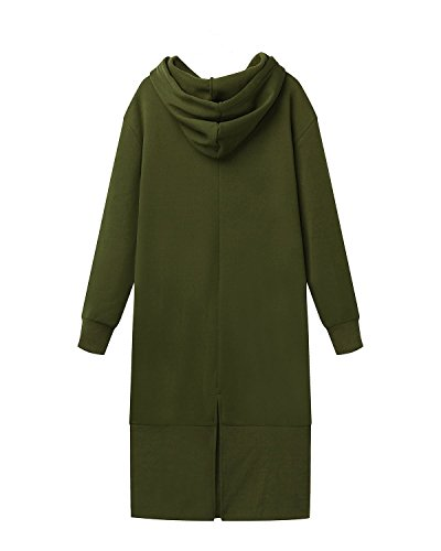 StyleDome Vestido Mujer Sudadera Larga con Capucha Elegante Fiesta Mangas Largas Oficina Noche Verde Militar