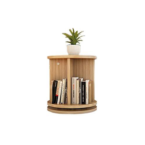 (Jcnfa-Shelves Desktop Shelf 360 Degree Rotation Round Bookcase Organizer Shelves for CDs, Records Student Modern Bookshelf, 5 Colors (Color : Light Walnut, Size : 1 Layer 11.8113.38in))