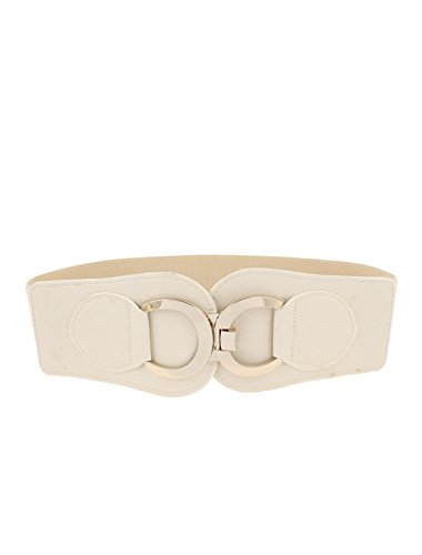 Metal Ring Interlocking Buckle Elastic Cinch Waist Belt Apricot (Ring Cinch Belt)