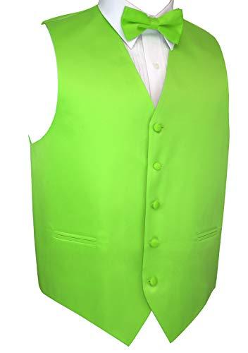 Italian Design, Men's Tuxedo Vest, Bow-Tie & Hankie Set in Lime - L