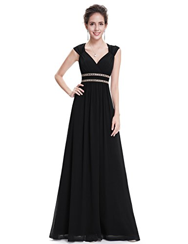 Ever-Pretty Womens Floor Length Beaded Grecian Style Military Ball Dress 6 US Black