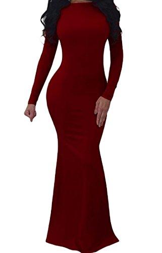 Bodycon Balançoire Sexy Backless Partie Solide Robe De Soirée De Vin Rouge Des Femmes Coolred