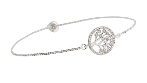 Fashion Metal Women's Snake Chain Tree Charm Bracelets with Rhinestones 2 Danglers Ends Ball Clasp Adjustable Length ()