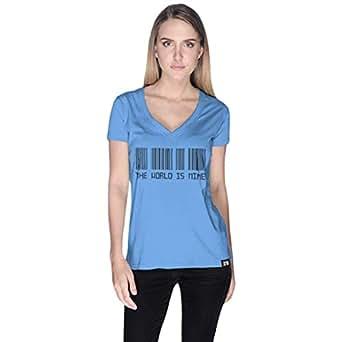 Creo Blue Cotton V Neck T-Shirt For Women