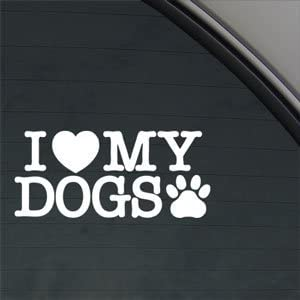 I Love My Dog Paw Vinyl Decal Sticker Car Truck Window