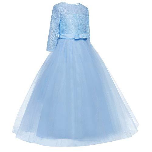 Rcool Partito Da Anni Natale Elegante Carnevale Vestito Festa Manica Bowknot Costume Cerimonia 3 Principessa Tutu Ragazze Abito Mezza Blue Bambina 12 Pizzo Halloween UrUn6px