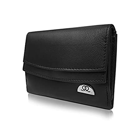 Quenchy London Ladies RFID Blocking Purse – Designer Leather – 6 Credit Cards & 3 Coins Sections – 13 cm x9x3 – QL441K (Black) 31THswsW5DL