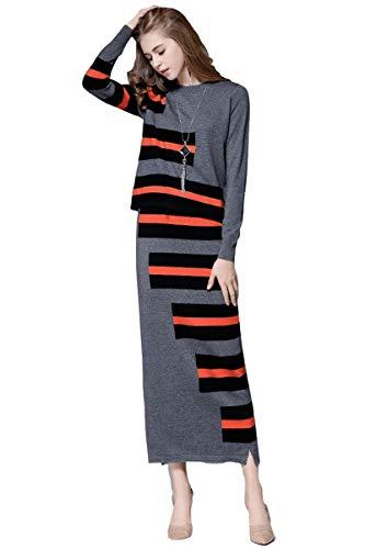 Cashmere Dress Women's Sweater Dress Set Cashmere Long Sleeve Stripe Knit Sweatshirt and Skirt Set (L, Grey