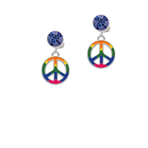 Silvertone Large Rainbow Colored Peace Sign - Blue Crystal Clip on (Pink Crystal Peace Sign)