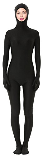 [Marvoll Unisex Spandex Open Face Zentai Full Bodysuit for Kids and Adults (Kids Large, Black)] (Black Bodysuit Costume)