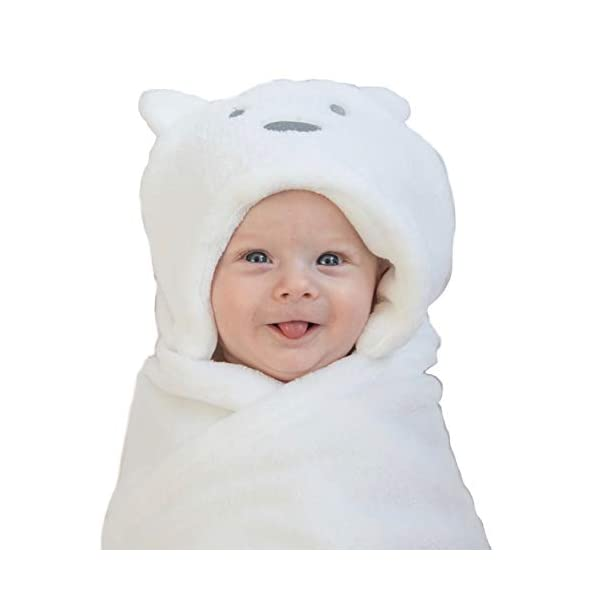 LURDDESLURDDES Cute Baby Newborn Boys Girls Hooded Blankets Unisex Bear Hoodie White Swaddle Plush Blanket