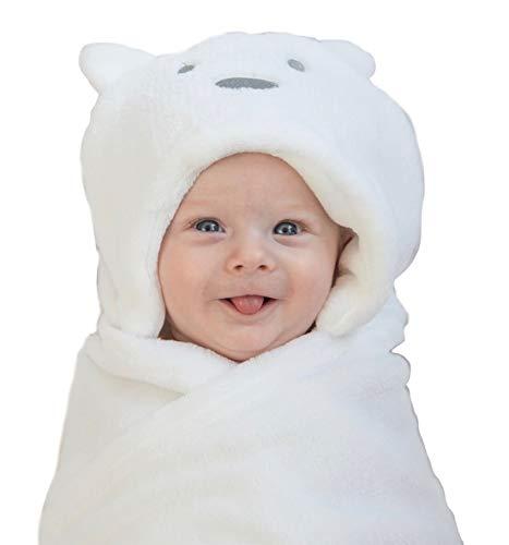 Baby Hooded Blanket Unisex, Bear Hoodie, White Swaddle Blanket. by LurddesLurddes