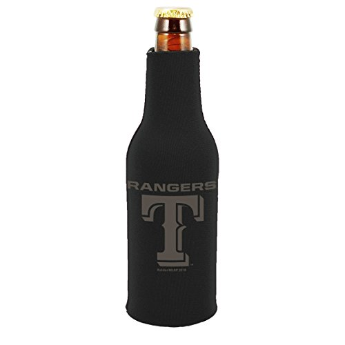 - Texas Rangers 2-PACK Zipper BOTTLE Tonal Black Koozie Neoprene Holder Cooler Coolie Baseball
