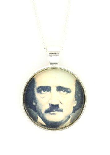 Magic Metal Edgar Allan Poe Necklace Silver Tone Antique Daguerreotype Portrait Print Pendant NP58 Fashion Jewelry