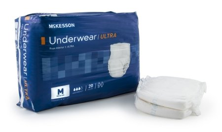 McKesson Ultra Pull On Adult Absorbent Underwear, Medium Disposable Heavy Absorbency Case of 80